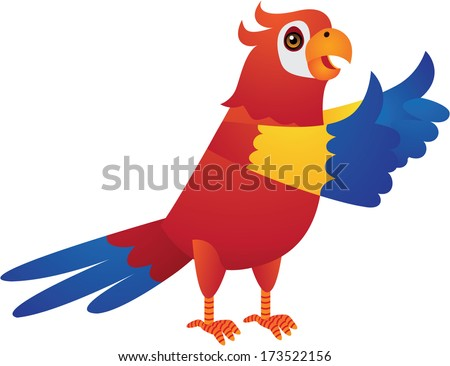 Red Blue Yellow Parrot Vector Cartoon Illustration - stock vector