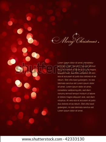 red blurry christmas lights (vector, no mesh or transparency used) - stock vector
