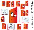 red book cartoon with many expressions isolated on white background - stock vector