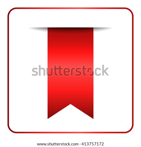 Red bookmark banner. Vertical book mark, isolated on white background. Color tag, label. Flag symbol, sign. Design element blank. Empty sticker for sale. Template icon decoration. Vector illustration. - stock vector