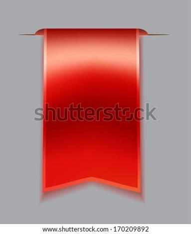 Red bookmark ribbon over gray background, VECTOR  - stock vector