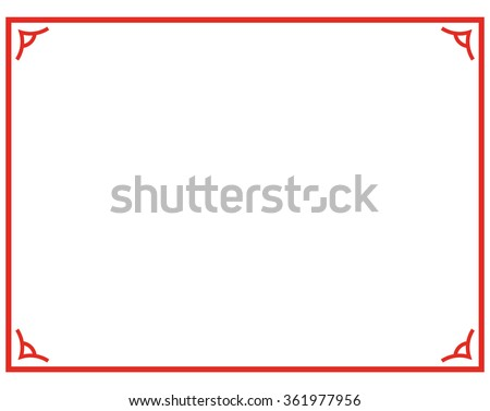 Red border frame deco plaque. Vector art simple line corner - stock vector