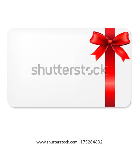 Red Bow And Blank Gift Tag, With Gradient Mesh, Vector Illustration - stock vector