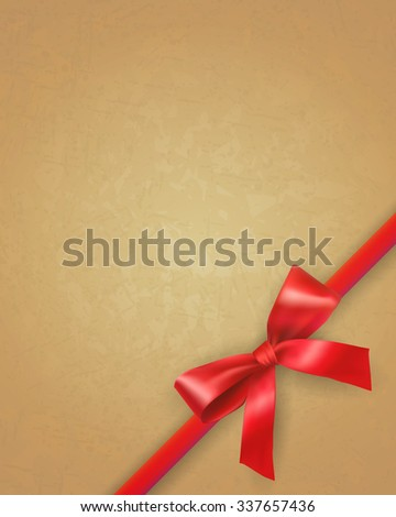 Red bow and ribbon on retro vintage old paper background.  template for greetings birthday valentine christmas new year card. vector illustration - stock vector