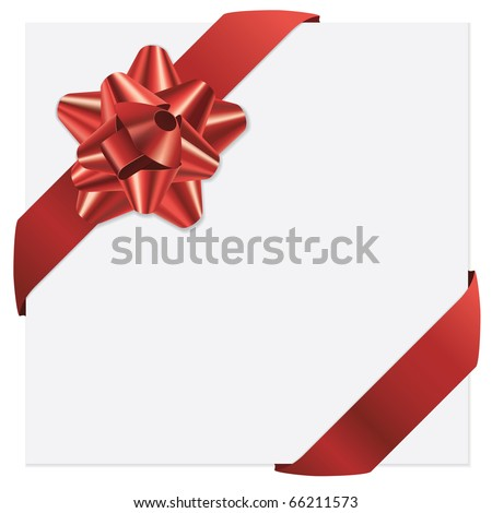 Red bow and ribbons vector holiday card - stock vector