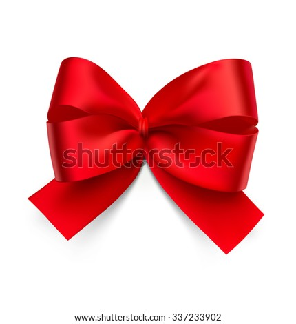 Red bow isolated on white background. Can be use for decoration gifts, greetings, holidays, etc. - stock vector