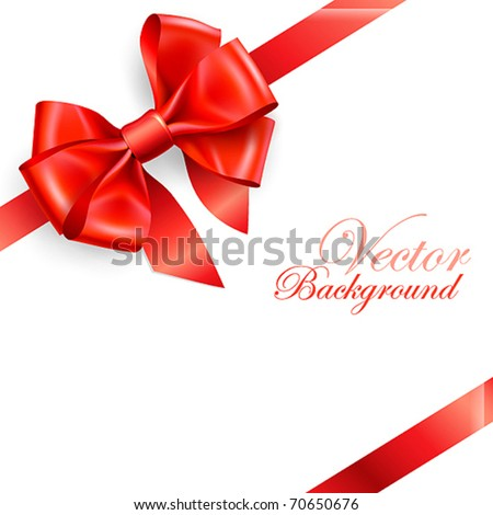 red bow isolated on white. Vector illustration - stock vector