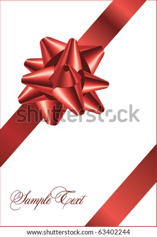 Red bow on a red ribbon with white background - vector Christmas card - stock vector