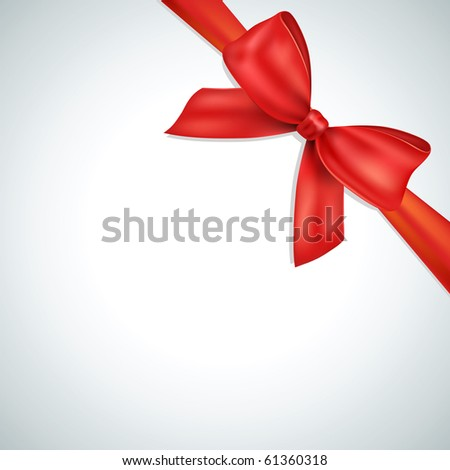 Red bow, ribbon - stock vector