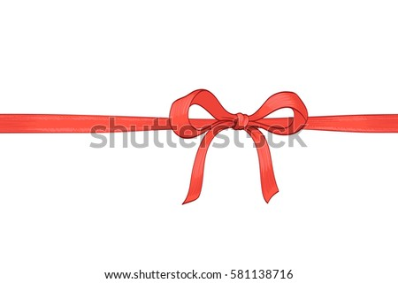 red bow ribbon hand drawn illustration. vector