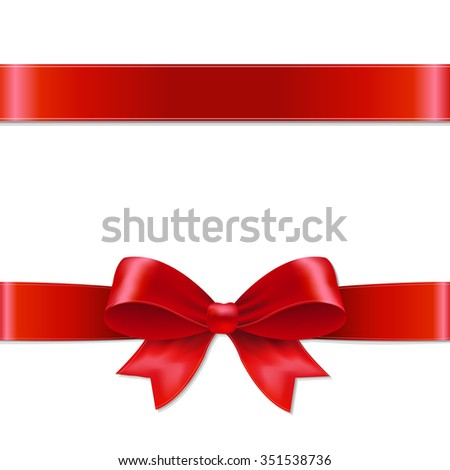 Red Bow With Gradient Mesh, Vector illustration - stock vector