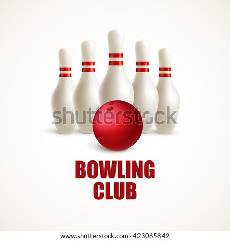 Red bowling ball and white skittles. Vector illustration EPS10 - stock vector