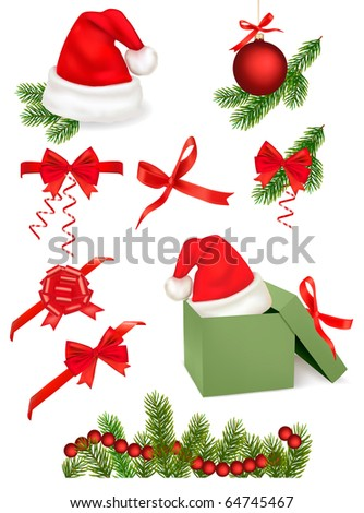Red bows with ribbons and Santa hats and tree branches. Vector.