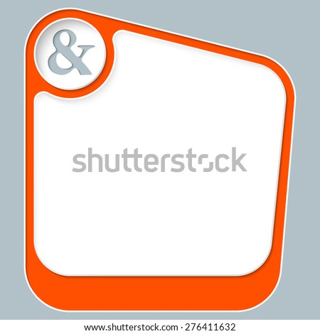 Red box for your text with white frame and ampersand - stock vector