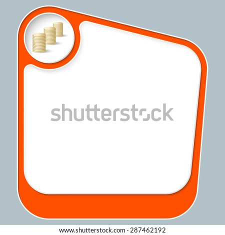 Red box for your text with white frame and coin - stock vector