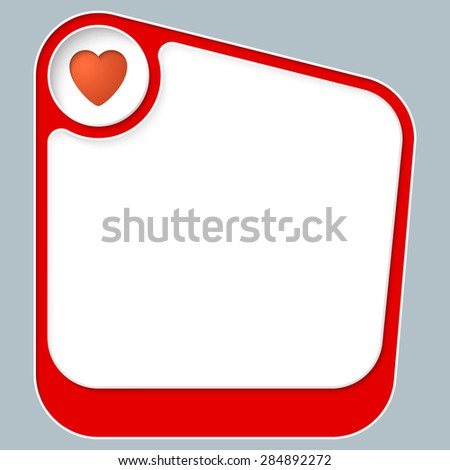 Red box for your text with white frame and heart - stock vector