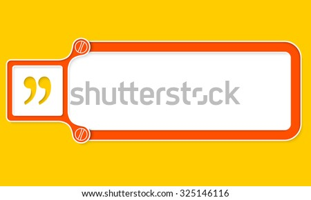 Red box with white frame for your text and quotation mark - stock vector