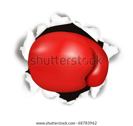 Red boxing glove. Conceptual vector illustration. - stock vector