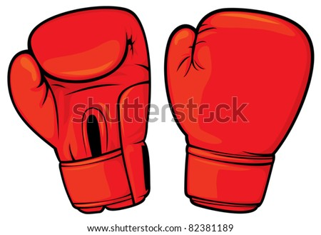 red boxing gloves - stock vector