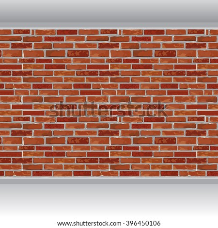 Red brick wall and wood floor background. Vector illustration. - stock vector