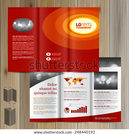 Red Brochure Template Design Yellow Round Stock Vector 248440192