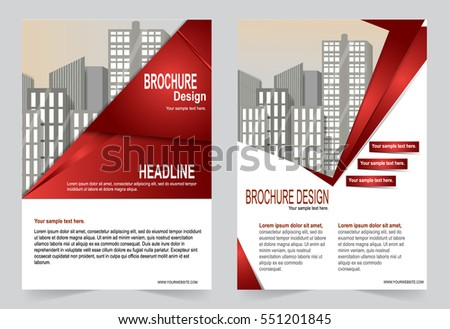 Red Brochure Template Flyer Design Abstract Stock Vector 551201845 ...