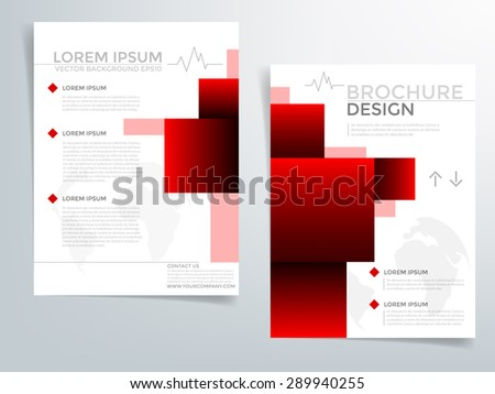 Red Brochure Template Vector Background Flyer Stock Photo Photo