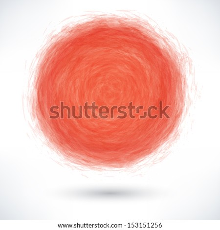 Red brush stroke in the form of a circle with gray drop shadow on white background. Drawing created in ink sketch handmade technique. Vector illustration clip-art design element save in 10 eps - stock vector