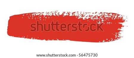 Red brush stroke isolated on white background - stock vector