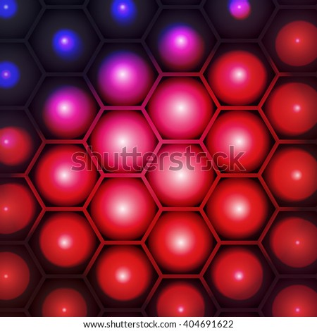 Red bubbles with hexagon honeycomb vector background eps10 design. - stock vector