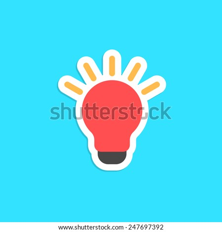 red bulb icon sticker isolated on blue background. concept of innovation, new solution, eureka and novel idea. flat style trendy modern logo design vector illustration - stock vector