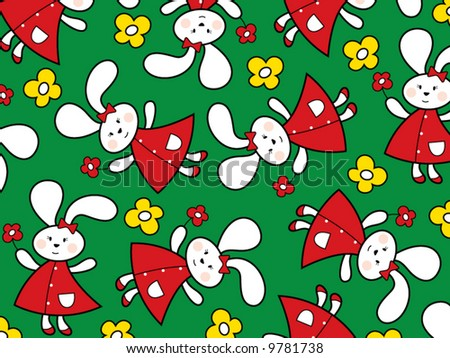 red bunnies and yellow daisies on green meadow (vector) - stock vector