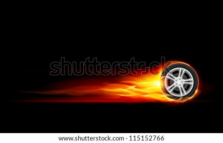 Red Burning wheel. Illustration on black background - stock vector