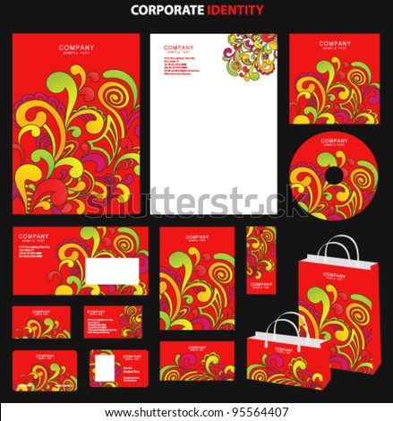 Red business style templates with abstract pattern. Vector - stock vector
