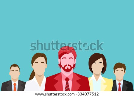 Red Businessman Business People Group Human Resources Team Flat Vector Illustration - stock vector