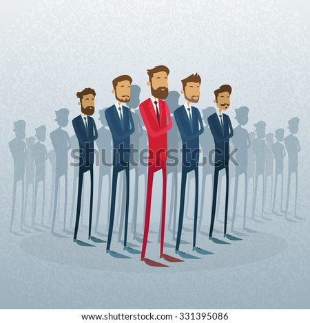 Red Businessman Leader Stand Crowd Individual With People Group Business Team Concept Vector Illustration - stock vector