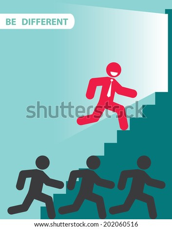 Red businessman outstanding from crowd. Vector illustration. Different concept. - stock vector