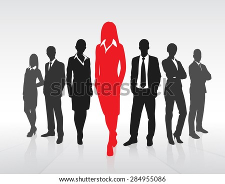 Red Businesswoman Silhouette, Black Business People Group Team Concept Vector Illustration - stock vector
