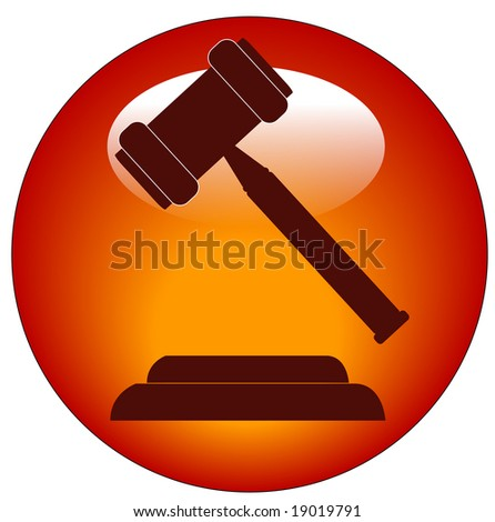 red button or icon of a gavel - hammer of judge or auctioneer - stock vector