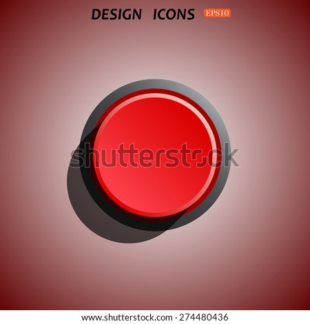 Red button start, stop. icon. vector design - stock vector
