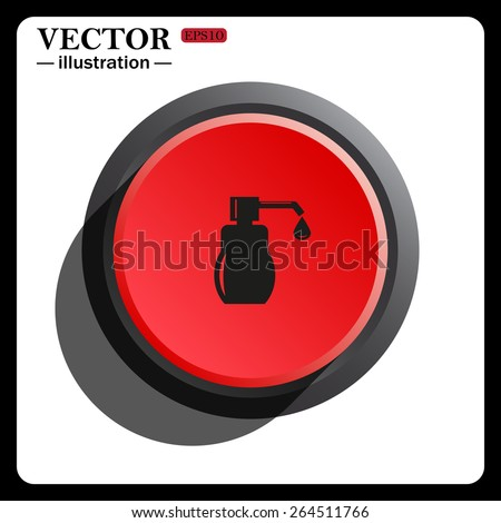 Red button start, stop. Shower Gel, Liquid Soap, Lotion, Cream, Shampoo, Bath Foam, icon, vector illustration. Flat design style  - stock vector