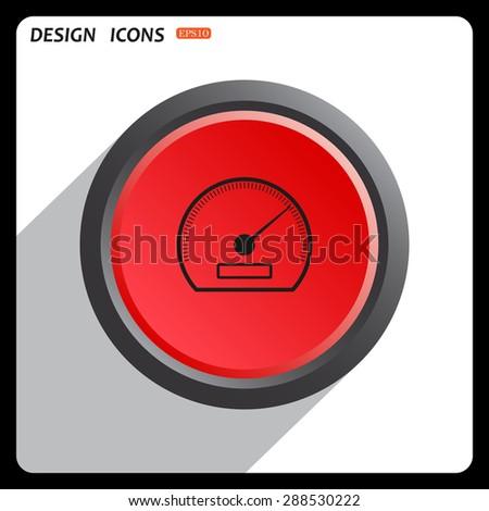 Red button start, stop. speedometer. icon. vector design  - stock vector