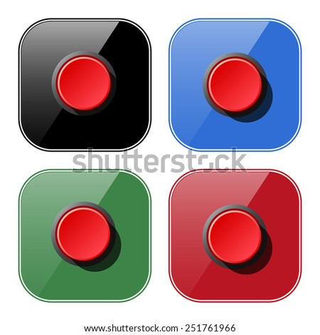 Red button start, stop. Vector illustration, EPS 10 - stock vector