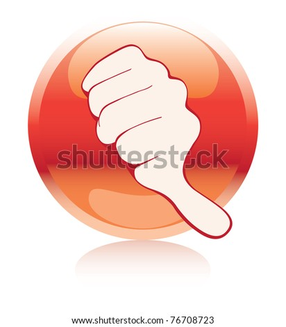 red button with a negative gesture