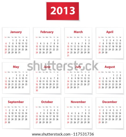 Red calendar for 2013 year in English. Vector illustration - stock vector