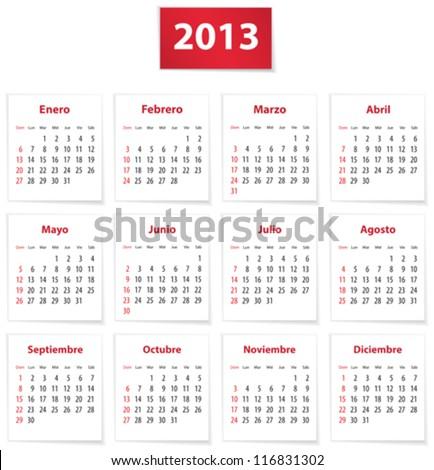 Red calendar for 2013 year in Spanish. Vector illustration - stock vector
