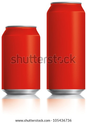 Red can vector visual 330 ml & 500 ml, ideal for cola, soft drinks, soda, fizzy pop, lager, alcohol, lemonade, energy drink, juice, etc. Drawn with mesh tool. Fully adjustable & scalable - stock vector