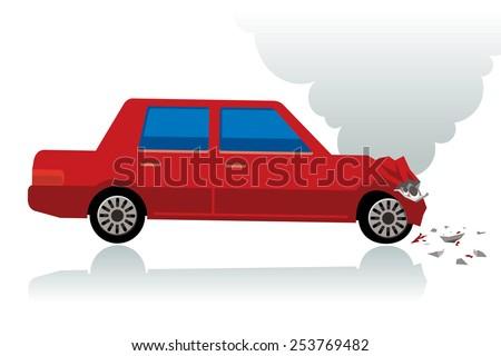 red car crush, crushed car - stock vector