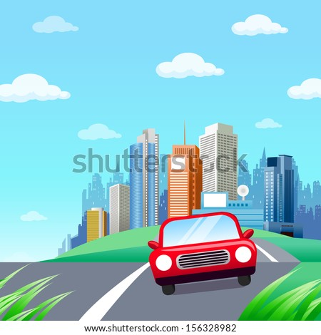 Red Car. Cute Little Red car on a Country Road in a Beautiful Environment. Driving out of Town. Going green. - stock vector