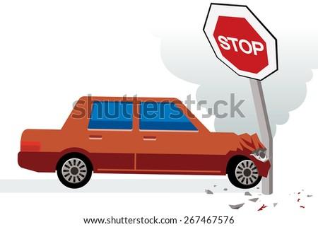 red car hits stop sign, car crash  - stock vector